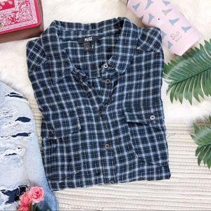Paige rosette plaid in Luna blue button down shirt
